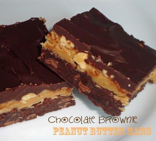 Chocolate Brownie Peanut Butter Bars