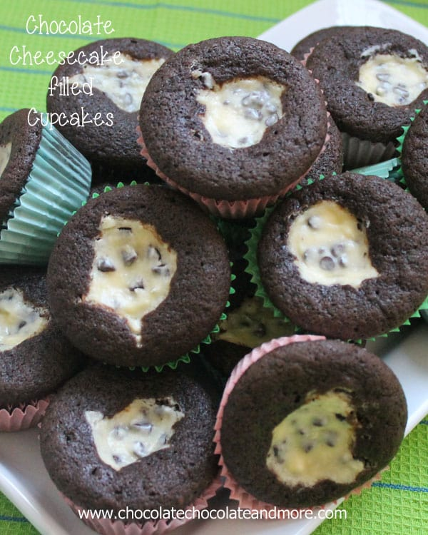 Chocolate Cheesecake filled Cupcakes-the best of both chocolate cake and cheesecake!