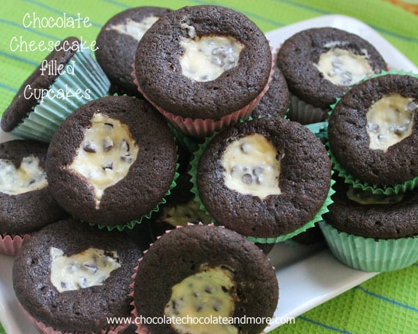 Chocolate Cheesecake filled Cupcakes- so easy to make!