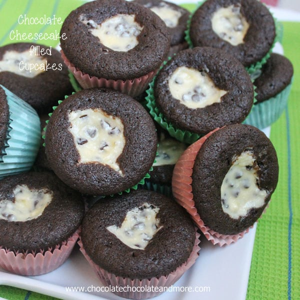 Chocolate Cheesecake filled cupcakes-Easy cheesecake filling surrounded by moist chocolate cake.