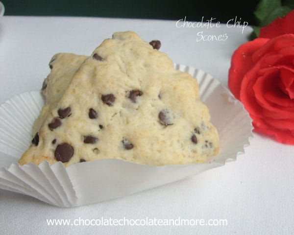 Chocolate Chip Scones are perfect with your morning coffee, as a light afternoon snack or to finish off your evening.