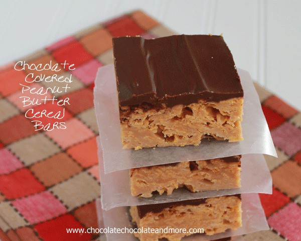 Chocolate Covered Peanut Butter Cereal Bars - Chocolate Chocolate and ...