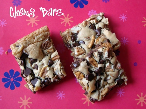 Chewy Bars-Similar to a blondie but loaded with pecans and chocolate chips!