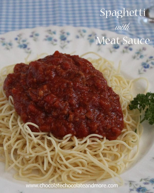 Spaghetti with Meat Sauce-make a large pot and freeze the leftovers!