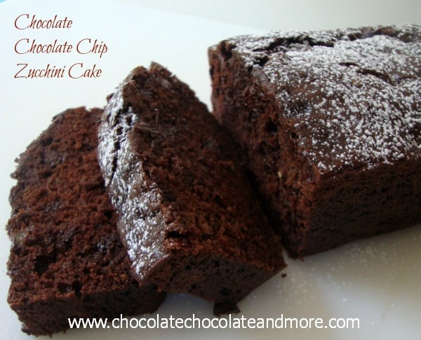 Chocolate Chocolate Chip Zucchini Cake-so rich, moist and full of chocolatey flavor!