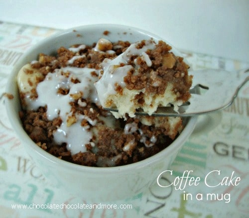 Coffee Cake in a mug-when you just want one serving, not a whole cake, and it's so good!