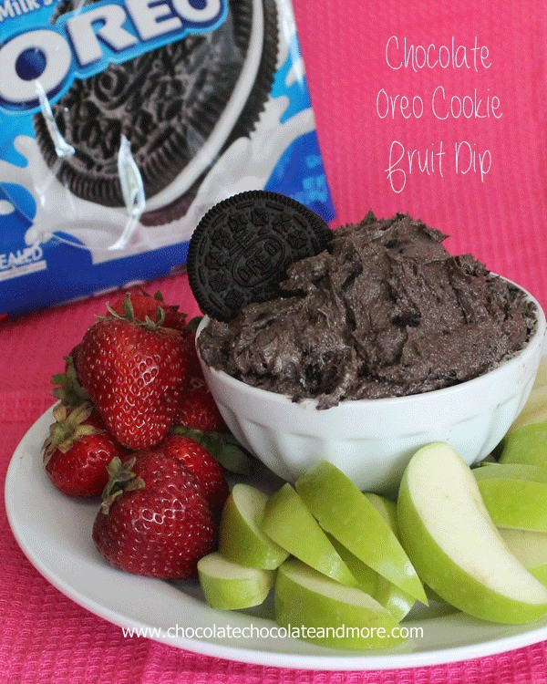 Chocolate Oreo Cookie Fruit Dip-A great way to enjoy fruit, perfect for a party or just a snack!