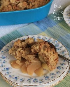 This Quick Apple Crisp is so easy to make and the family loves it. I always keep a box of yellow cake mix in the cabinet just for this recipe!