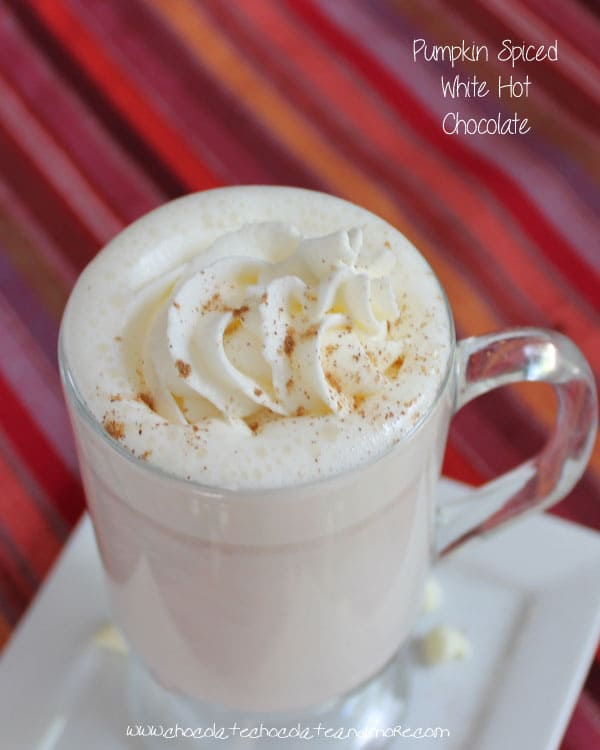 Pumpkin Pie Spiced White Hot Chocolate-the perfect way to welcome in fall!