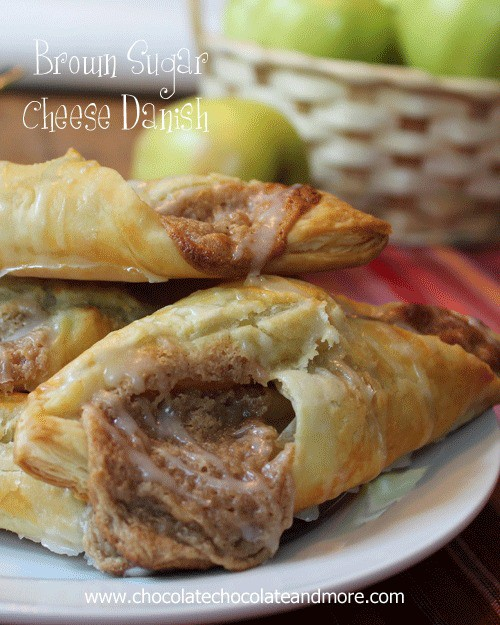 Brown Sugar Cheese Danish-start with puff pastry then fill with a brown sugar cream cheese filling, bake then drizzle with glaze, an easy breakfast treat!
