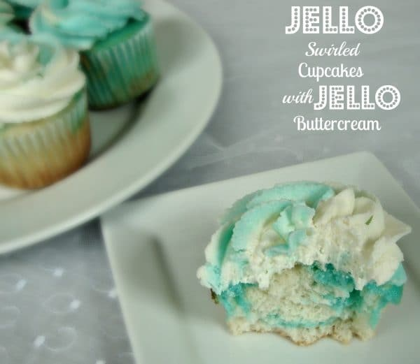 Jell-o Swirled Cupcakes with Jello Buttercream