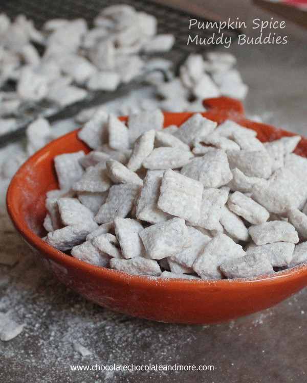 Pumpkin Spice Muddy Buddies-your favorite snack with the flavored with Pumpkin Spice, perfect for fall!