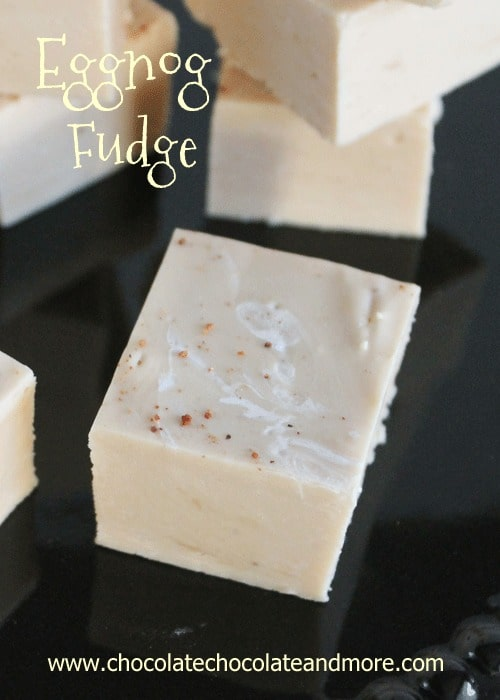 Eggnog Fudge-Smooth and creamy. A subtle eggnog flavor but not overwhelming, the perfect Christmas Fudge.