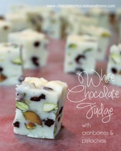 White Chocolate Fudge with Cranberries and Pistachios-full of red and green color, perfect for the holidays!