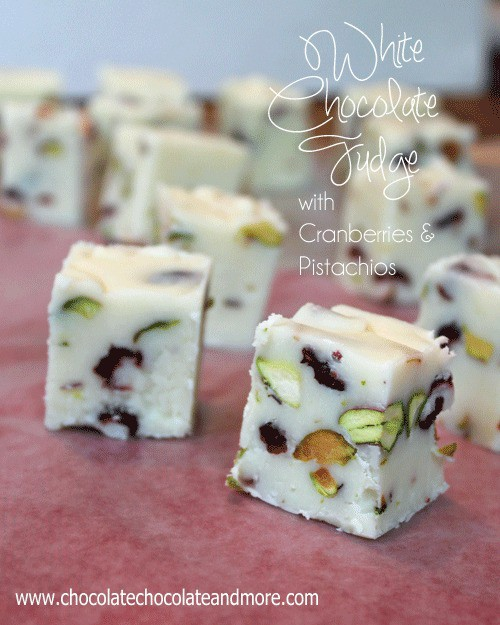 white chocolate fudge with cranberries and pistachios full of red and green color perfect