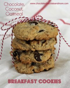 Chocolate Coconut Oatmeal Breakfast Cookies with Peanut Butter and pecans-the perfect way to start off your day!