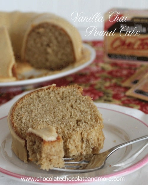 Vanilla Chai pound Cake-A delightful blend of vanilla and spice using Bigelow Tea for a unique flavor.