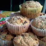 Chocolate Chip Muffins with a light sugary crumb topping