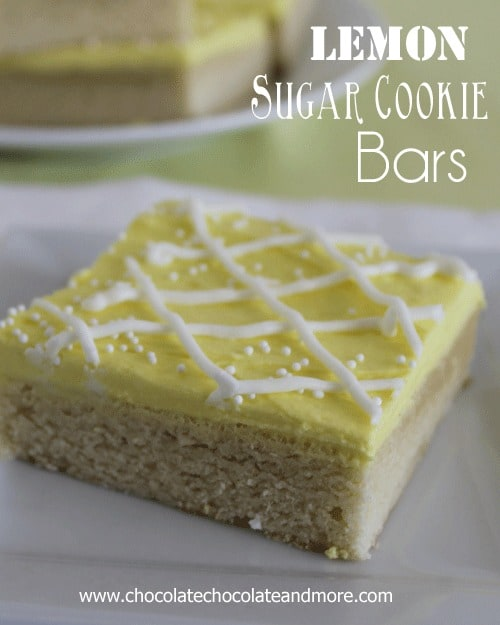 Lemon Sugar Cookie Bars-a quick and easy treat and so pretty!