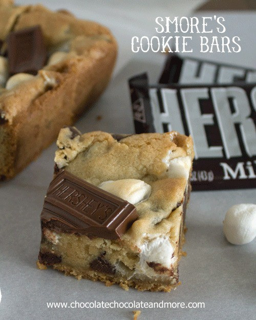 Smores Cookie Bars. Graham Cracker, Hershey's Chocolate and marshmallow wrapped up neatly in a bar.
