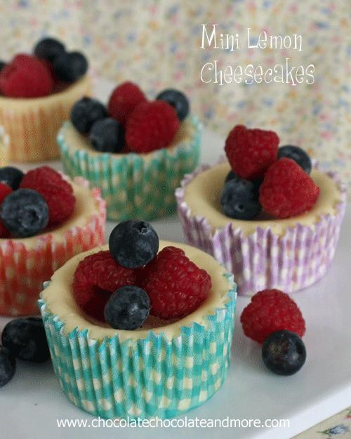 Mini Lemon Cheesecakes with fresh berries-the perfect light dessert