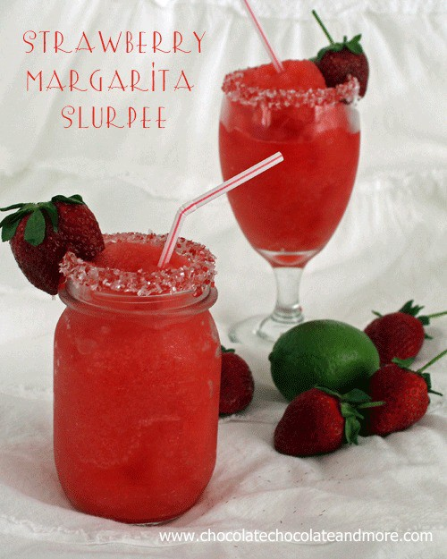 Strawberry Margarita Slurpees for Cinco de Mayo-with or without alcohol, they're tasty and fun to drink