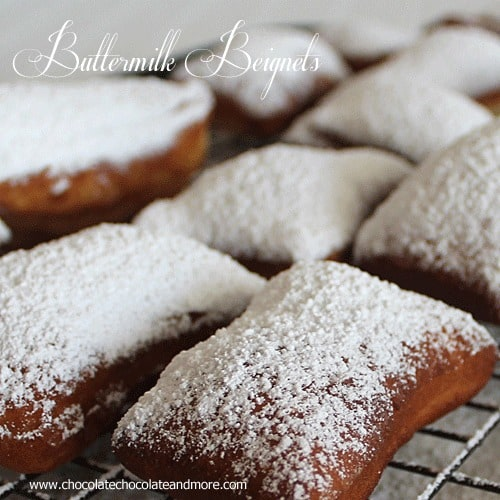 Buttermilk Beignets- a yummy, yeasty, powdered sugared drenched taste of heaven.