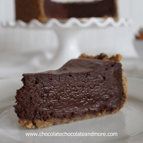 Chocolate Mousse Cake-deep rich mousse with a walnut crust!