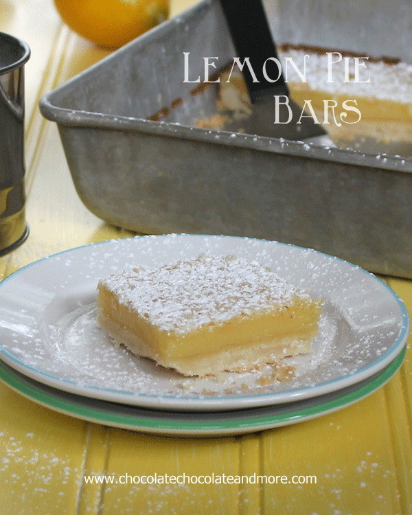 50 Pastel Desserts-Lemon Pie Bars-all the taste of a Lemon Pie with the convenience of a handy bar