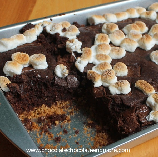 Smores Brownie Cake-graham cracker crust, chocolatey cake and topped with toasted marshmallows.