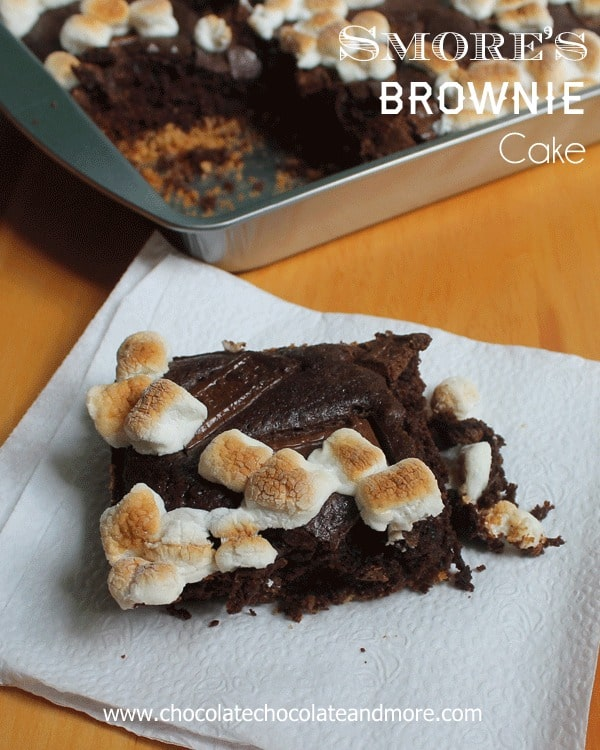 Smores Brownie Cake Graham Cracker Crust Chocolatey And Topped With Toasted Marshmallows