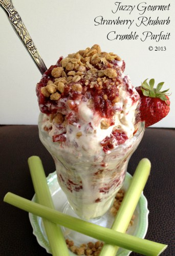 Strawberry Rhubarb Crumble Parfait featured at Thursday's Treasures
