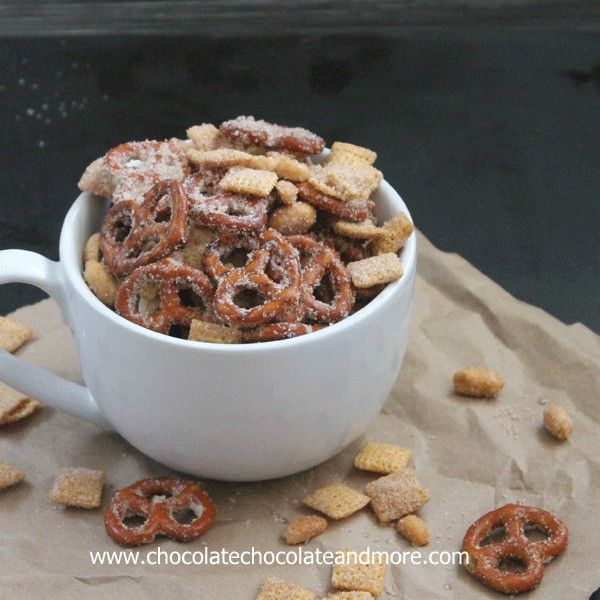 Sweet Salty Cinnamony Pretzel Snack Mix-you'll want to clean out the snack cabinet and make this!