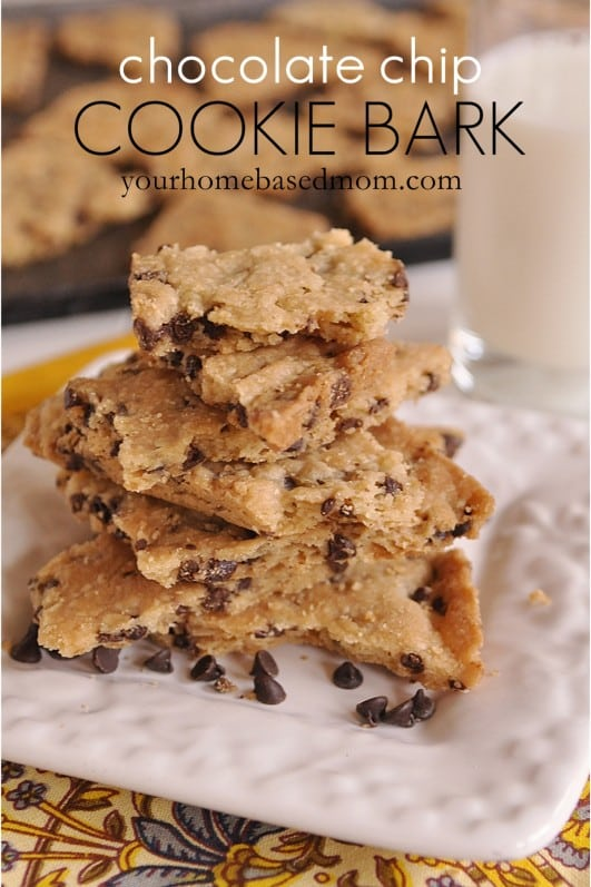Chocolate Chip Cookie Bark featured at Thursday's Treasures