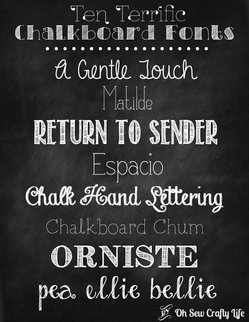 Chalkboard Fonts from Oh Sew Crafty Life featured at Thursday's Treasures