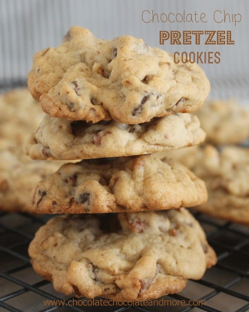 Chocolate Chip Pretzel Cookies, the perfect alternative for those with Nut allergies. Oh and the salty from the pretzel gives these cookies the perfect sweet/salty combination!