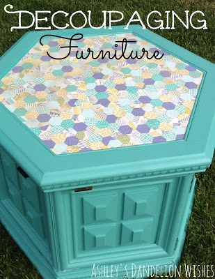 Decoupaging Furniture from Ashley's Dandelion Wishes featured at Thursday's Treasures