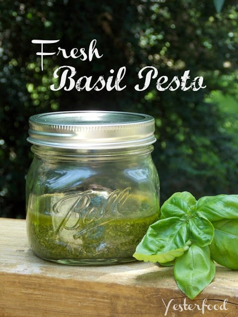 Fresh Basil Pesto by Yesterfood featured at Thursday's Treasures