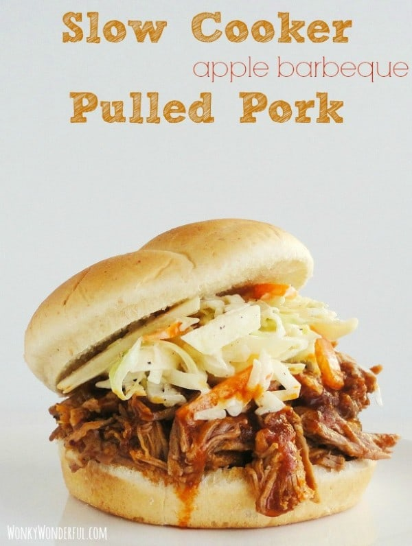 Slow Cooker Apple Barbeque Pulled Pork from Wonky Wonderful featured at Thursday's Treasures