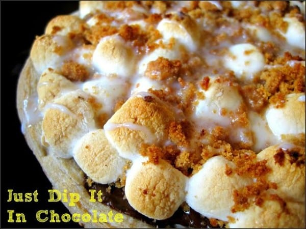 Smores Pizza Recipe from Just Dip it in Chocolate featured at Thursday's Treasures