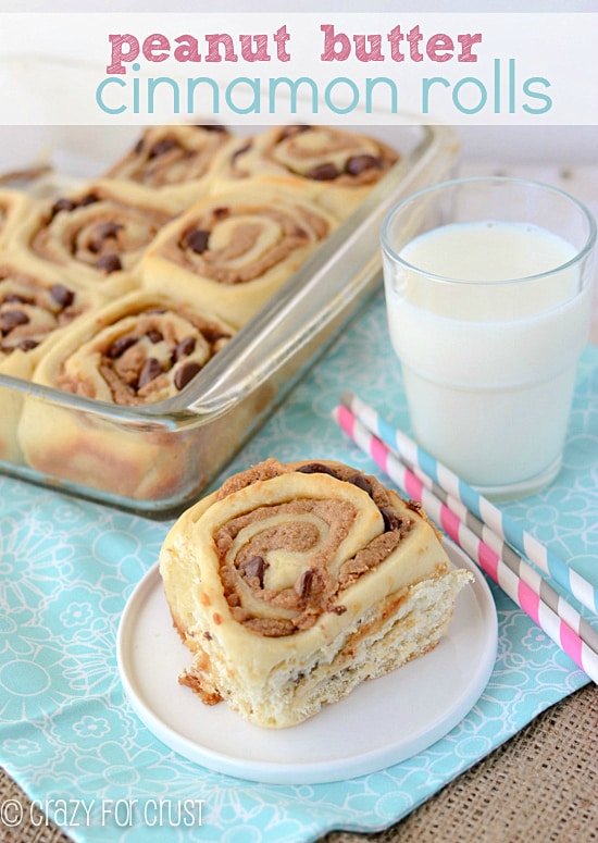 peanut-butter-cinnamon-rolls-from Crazy for Crust featured at Thursday's Treasures