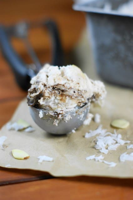 Coconut Almond Fudge Ripple Ice Cream from The Kitchen is my Playground featured at ChocolateChocolateandmore