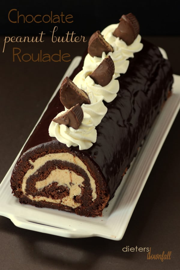 Chocolate Peanut Butter Roulade form Dieters Downfall featured at ChocolateChocolateandmore