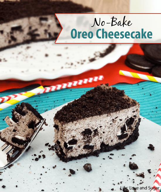 No bake Oreo Cheese Cake form Life Love and Sugar featured at ChocolateChocolateandmore