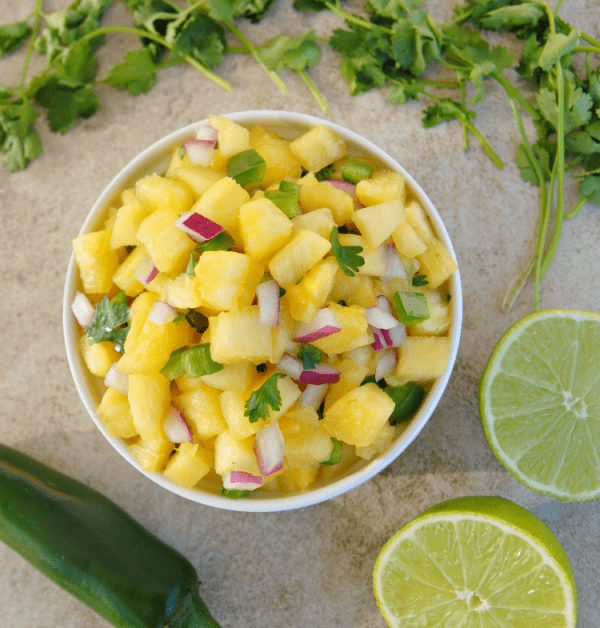 Pineapple Salsa from Steak and Potatoes Kinda Girl featured at ChocolateChocolateandmore