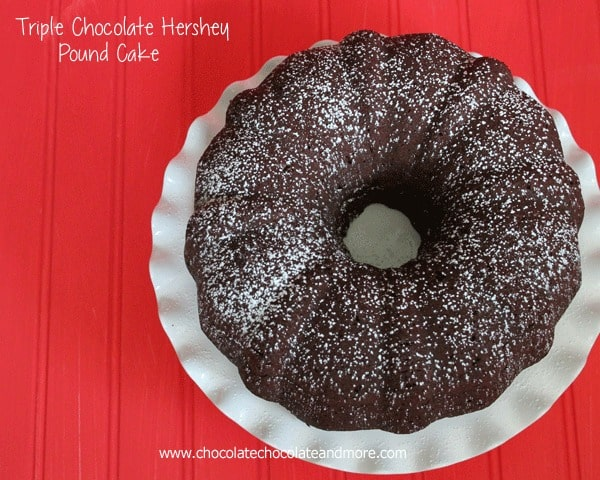 Hershey's Cocoa, Hershey's Syrup and Hershey's Milk Chocolate Candy Bars  all come together to make this the Ultimate Triple Chocolate Hershey Pound Cake!