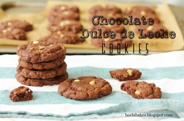 chocolate dulce de leche cookies from BeelaBakes featured at ChocolateChocolateandmore