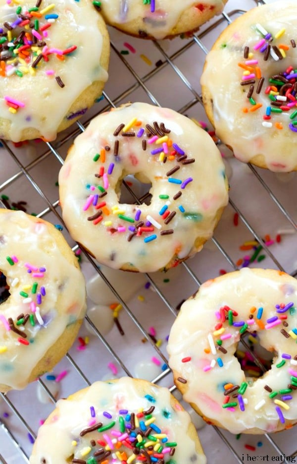Baked Funfetti Donuts from I Heart Eating Featured at ChocolateChocolateandmore.com