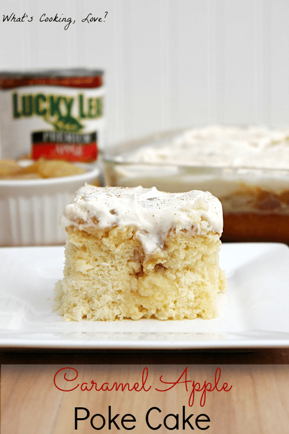 Caramel Apple Poke Cake from What's Cooking Love featured at ChocolateChocolateandmore