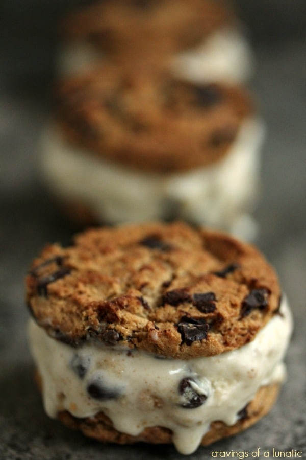 Cookie-Dough-Ice-Cream-Sandwiches-from Cravings of a Lunatic featured at ChocolateChocolateandmore